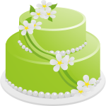 Vector drawing of green birthday cake