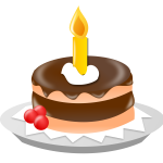 Birthday cake with candle vector clip art