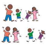 Stick Figure Black Family