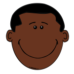 Cartoon head of Afro-american boy