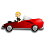 Blondie girl driving coupe vector image