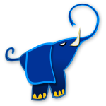Blue abstract elephant vector drawing