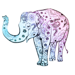 Blue floral elephant vector graphics