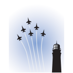 Vector drawing of military planes on show over lighthouse