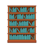 Bookshelf with blue books