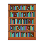Bookshelf with books image