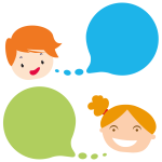 Boy And Girl With Speech Bubbles