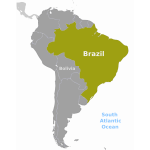 Brazil location map vector image