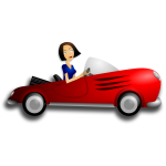Brunette girl driving coupe vector image