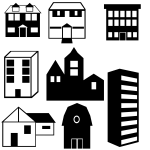 Vector image of set of building silhouettes