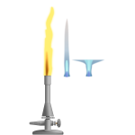 Vector image of laboratory burner with 3 different flames