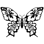 Butterfly flower line art