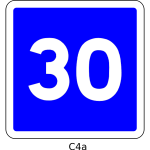 Vector drawing of 30mph speed limit informatory road sign