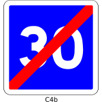 Vector graphics of end of 30mph speed limit blue square French roadsign