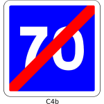 Vector clip art of end of 70mph speed limit blue square French roadsign