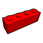 1x4 kid's brick element red vector drawing