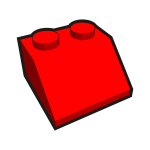 1x2 tilted kid's brick element red vector drawing