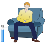 Vector illustration of pulmonary disease patient