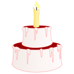 Vector illustration of small cake with cherry on top