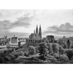 Illustration of of medieval town panorama in gray color