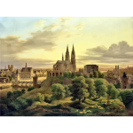Drawing of medieval town panorama in color