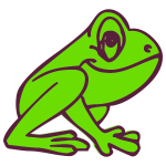 Cartoon frog profile
