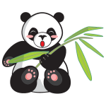 Cartoon panda and bamboo