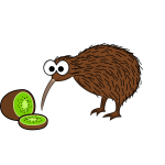 Kiwi bird with kiwis