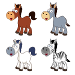 Vector clip art of selection of cartoon horses