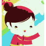 Cartoon portrait of girl vector image