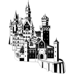 Neuschwanstein castle in black and white vector clip art