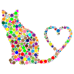 Cat 2 Silhouette Heart Tail Circles Prismatic
