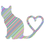 Cat 2 Silhouette Heart Tail Waves