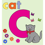 Cat with alphabet letter C