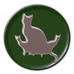 Image of cat family reflective green button
