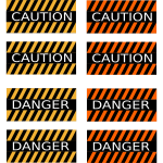 ''Caution'' and ''danger'' signs
