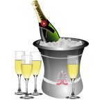 Champagne serving vector illustration