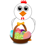 Chicken behind behind Easter eggs basket vector illustration