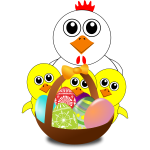 Chicken and chicks behind Easter eggs basket vector illustration