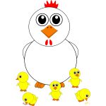 Cartoon chicken and chicks vector illustration