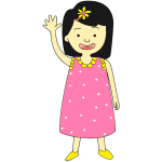 Girl in pink dress waving