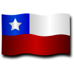 Chilean flag with shadow vector clip art