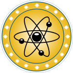 Vector drawing of atomic badge set in gold
