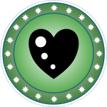 Green heart badge vector illustration