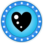Blue heart badge vector drawing