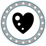 Grayscale heart badge vector image