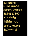 Vector image of fancy alphabet in gold