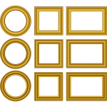 Vector image of set of gold frames