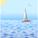 Sea scene with windsurfing boat vector illustration