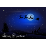 Santa travelling at night Christmas greeting card vector drawing